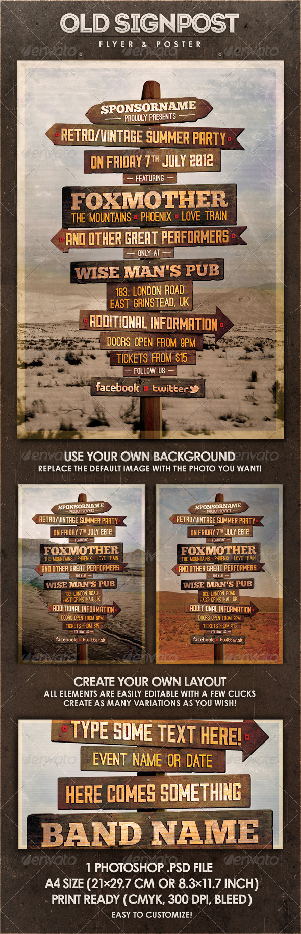 GraphicRiver Old Signpost Flyer & Poster 2665314
