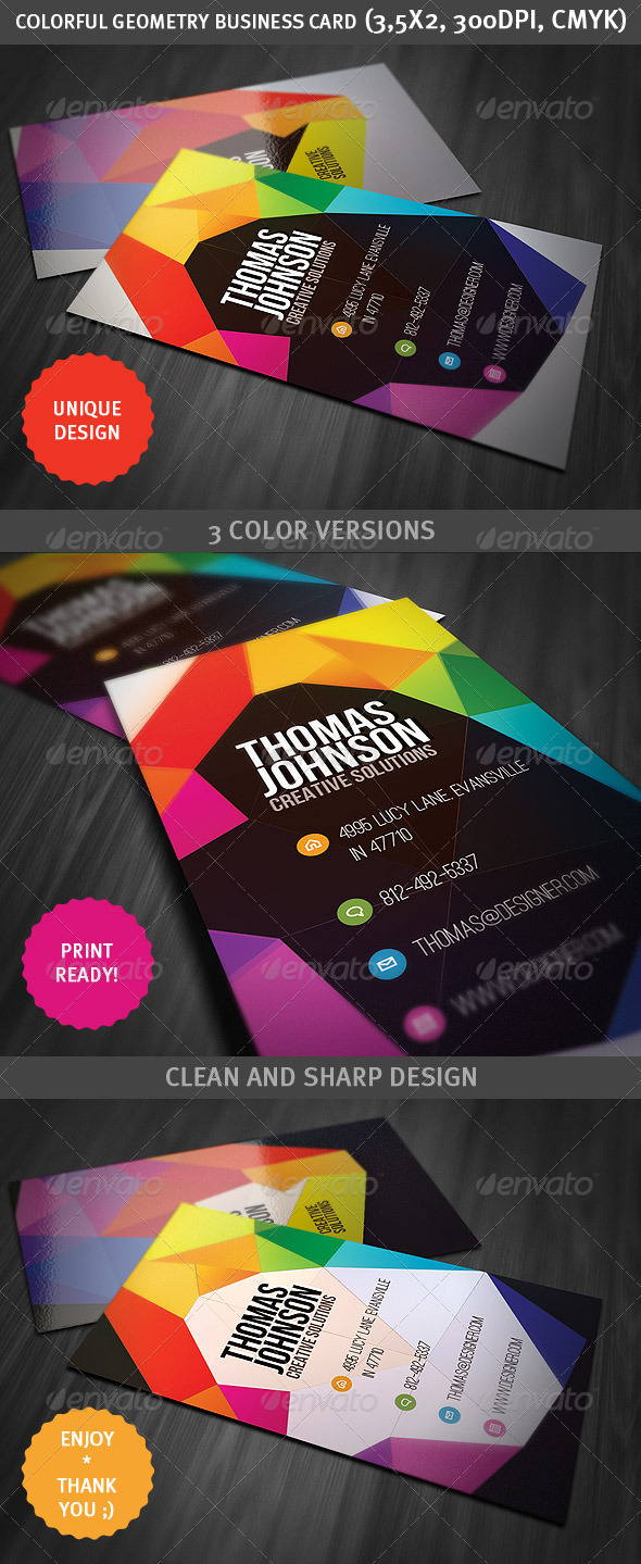 GraphicRiver Colorful Geometry Business Card 2670534