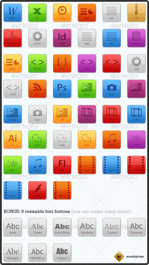 GraphicRiver Resizable Filetype Buttons 109850