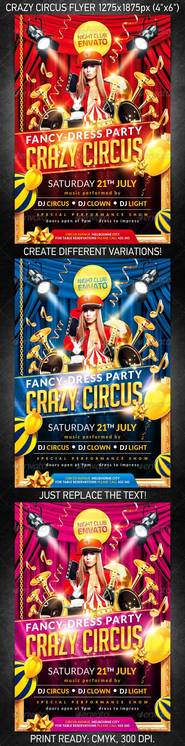 GraphicRiver Crazy circus party flyer 2656772