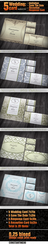 GraphicRiver 5 items Wedding Card ver 2.0 2680921