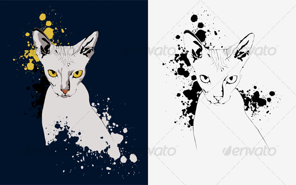 Graphic River Portrait of a Cat on an Abstract Background Yello Vectors -  Characters  Animals 96883