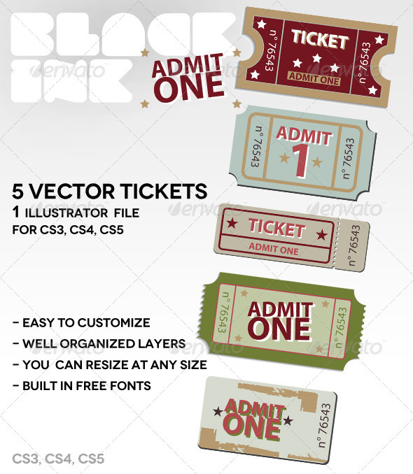 GraphicRiver Admit-One-Tickets 2410655