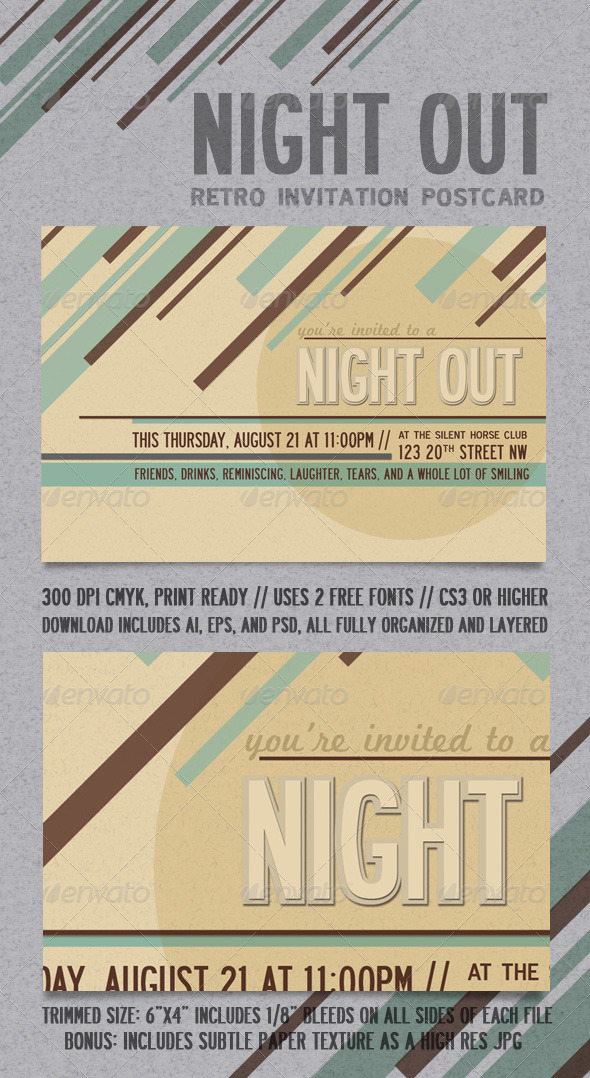 GraphicRiver Night Out Retro Invitation Postcard 297172