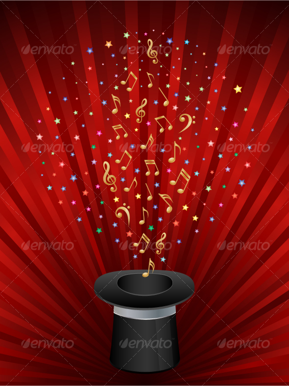 GraphicRiver Music background with a magic top hat 96984