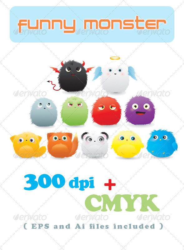 Graphic River Funny Monster Vectors -  Characters 298098