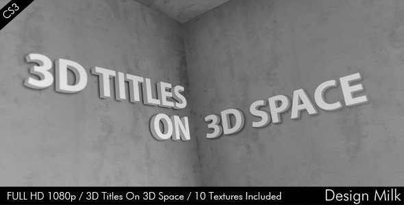 After Effects Project - VideoHive 3D Titles On 3D Space 2683248