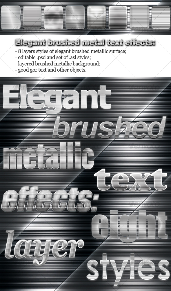 GraphicRiver Elegant Brushed Metal Text Effects 97833