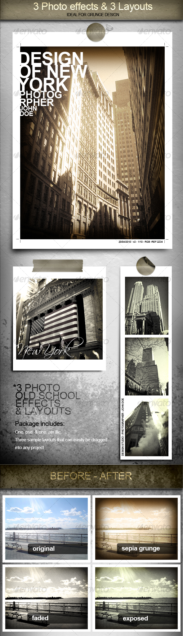GraphicRiver 3 Cool Photo Effects and Layouts 97876