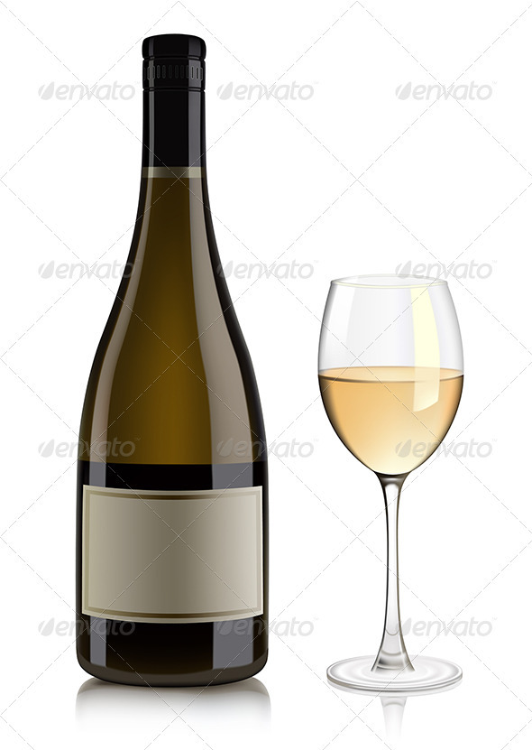 White wine bottle and glass | GraphicRiver
