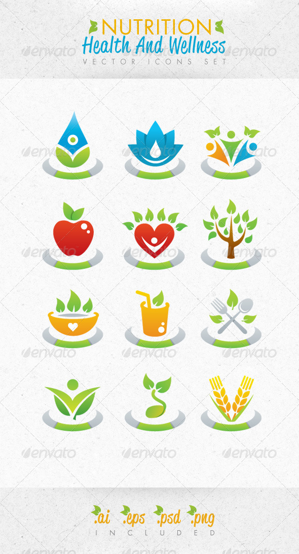 GraphicRiver Nutrition Health And Wellness Vector Icons Set 2705880