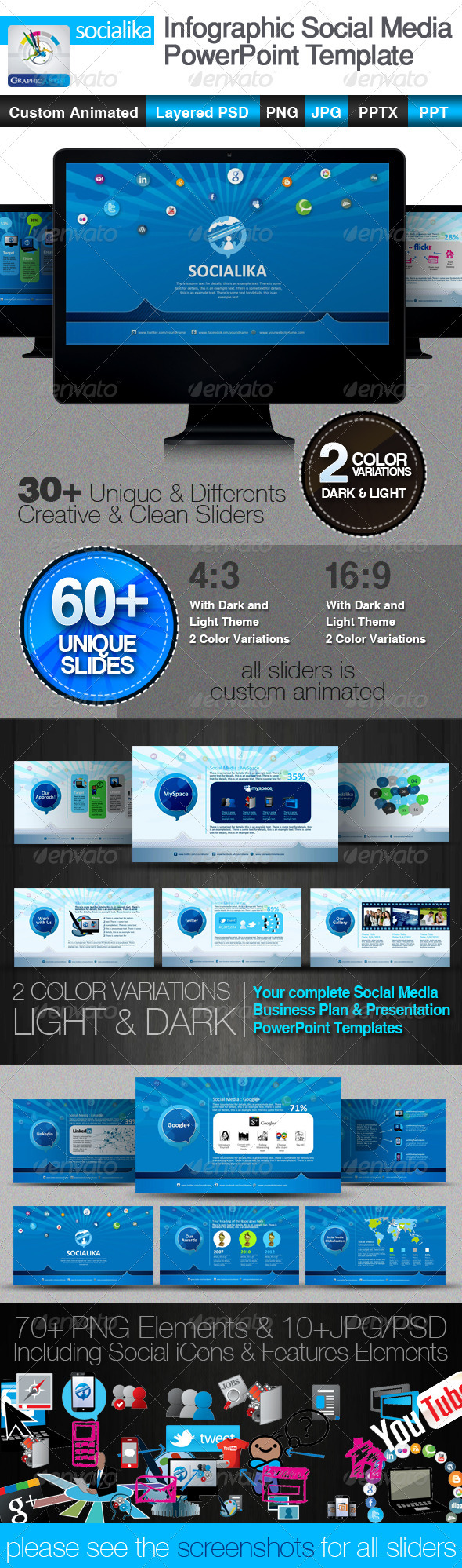 GraphicRiver Socialika Infographic Social Media PowerPoint 2716706