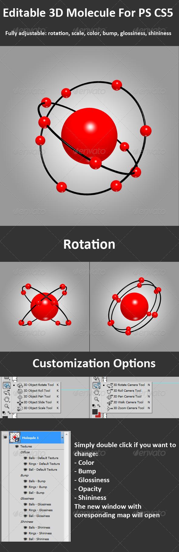 Graphic River 3D Molecule For PS CS5 Full 3D Options Graphics -  Decorative  Decorative Symbols 299772