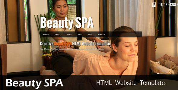 ThemeForest Beauty SPA jQuery Single Page Website Template Site Templates Retail Health & Beauty 2731662