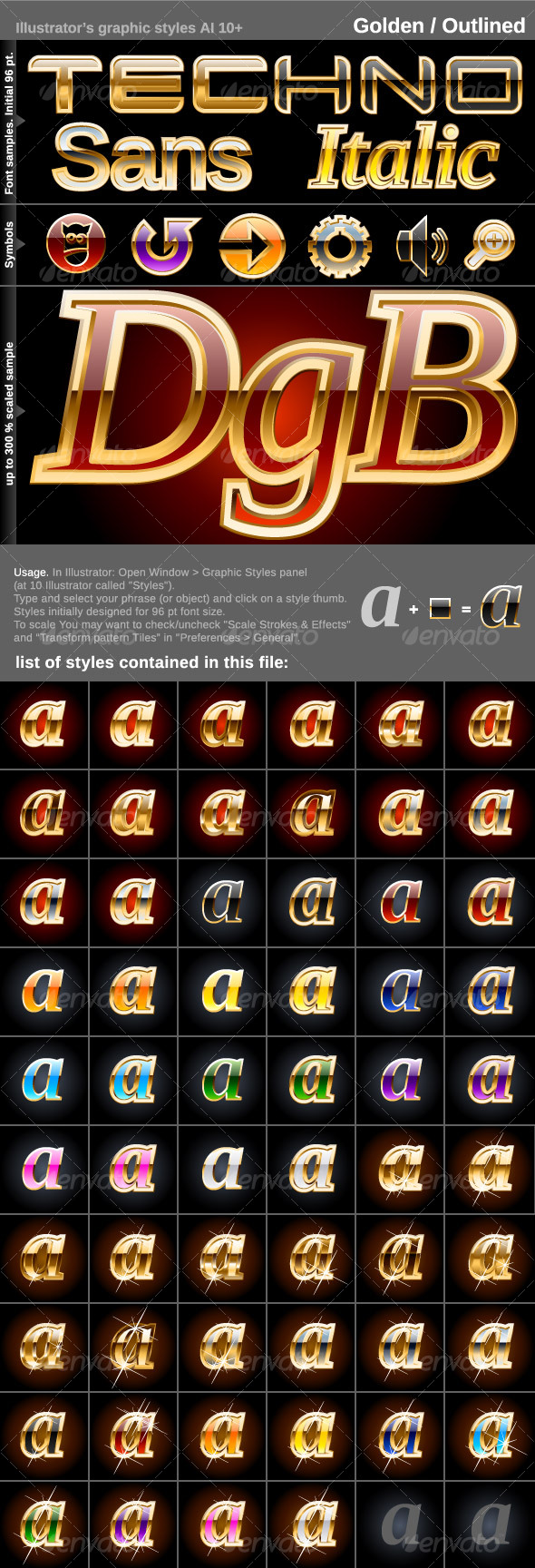 GraphicRiver 60 Illustrator Graphic Styles Golden Outlined 98701