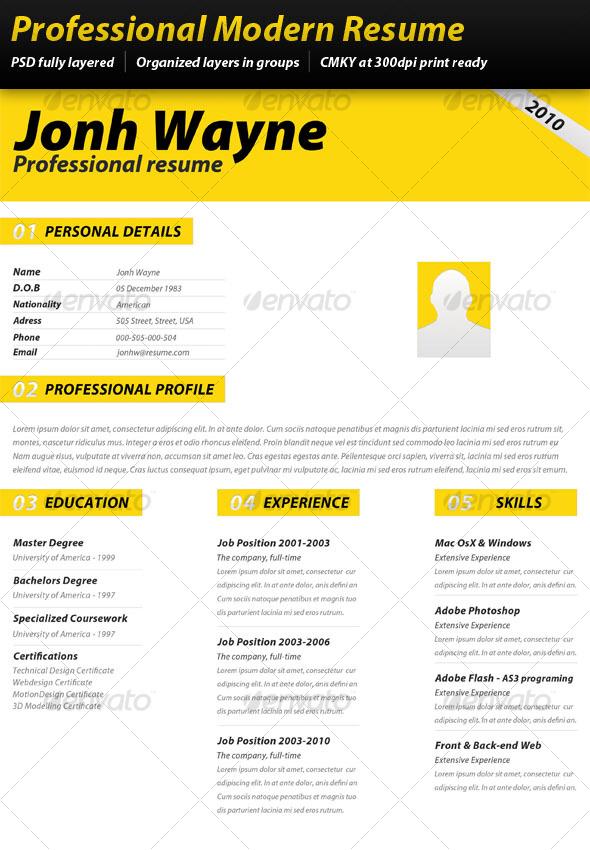 GraphicRiver Professional Modern Resume 97020
