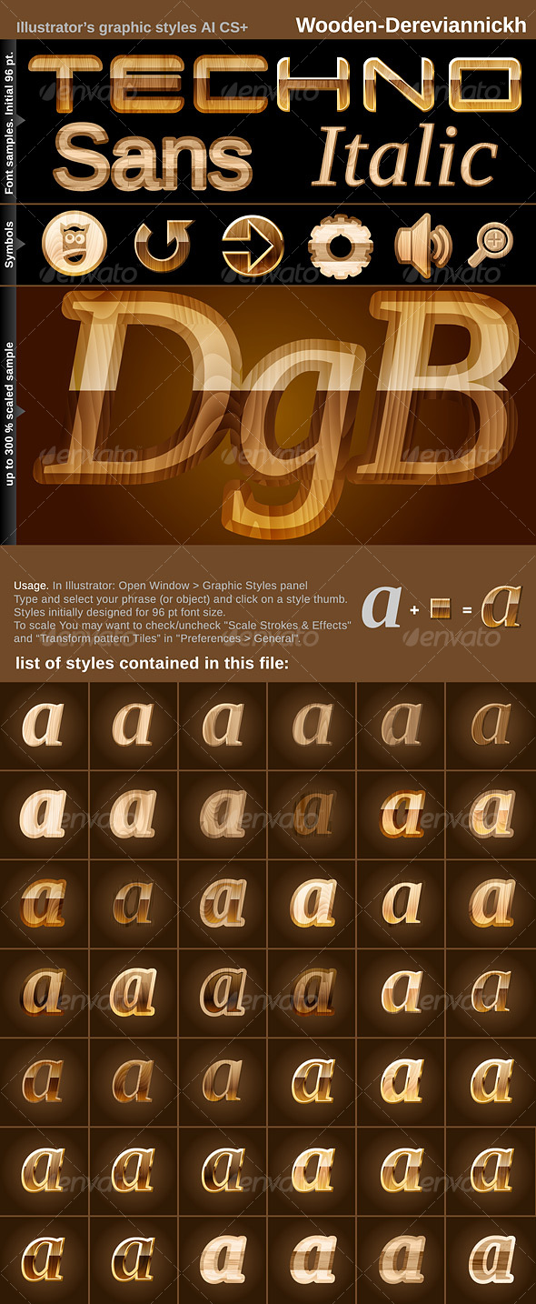GraphicRiver 42 Illustrator Graphic Styles Wooden 98832