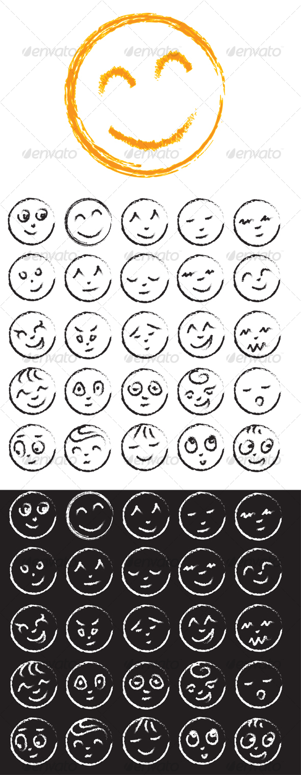 GraphicRiver Hand drawn Smiley Faces 98911