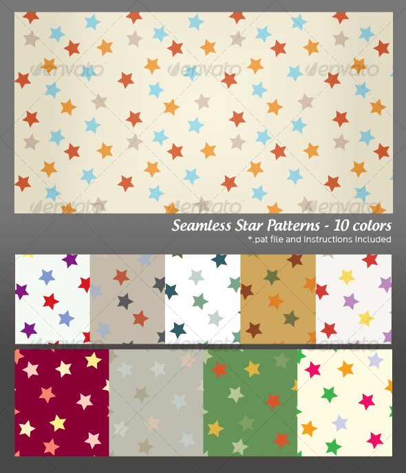 GraphicRiver Seamless Star Background Pattern 10 colors 99152