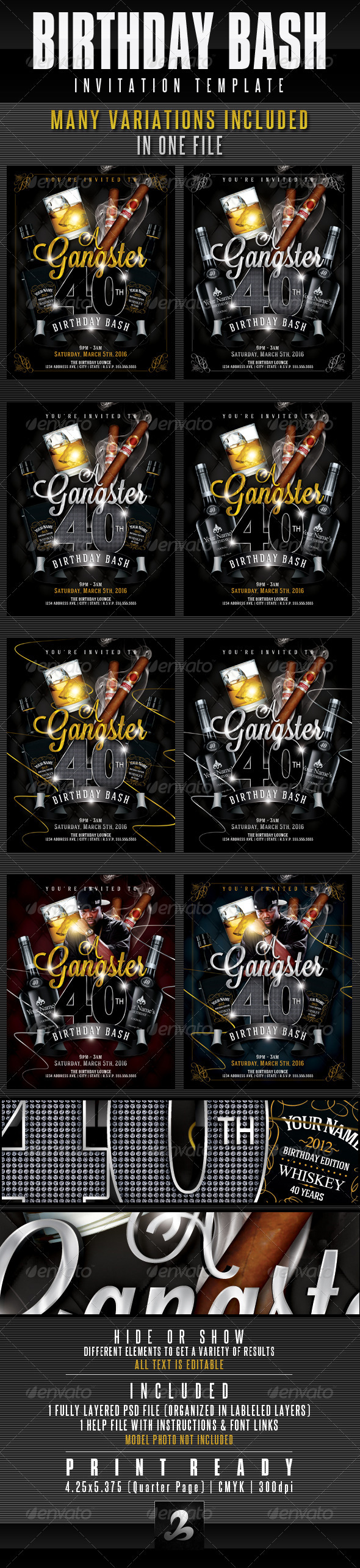 GraphicRiver Birthday Invitation Template Gangster Style Pt.1 2703861