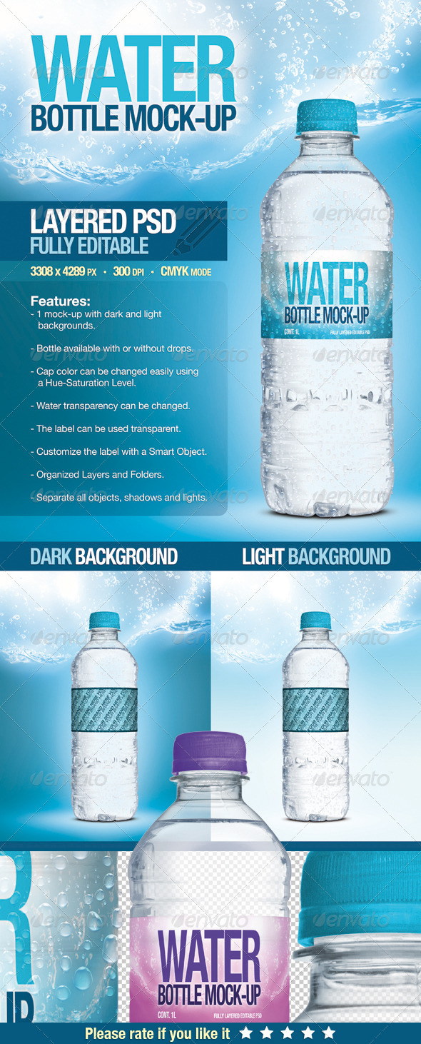 GraphicRiver Fresh Water Bottle Mock-Up 2750175