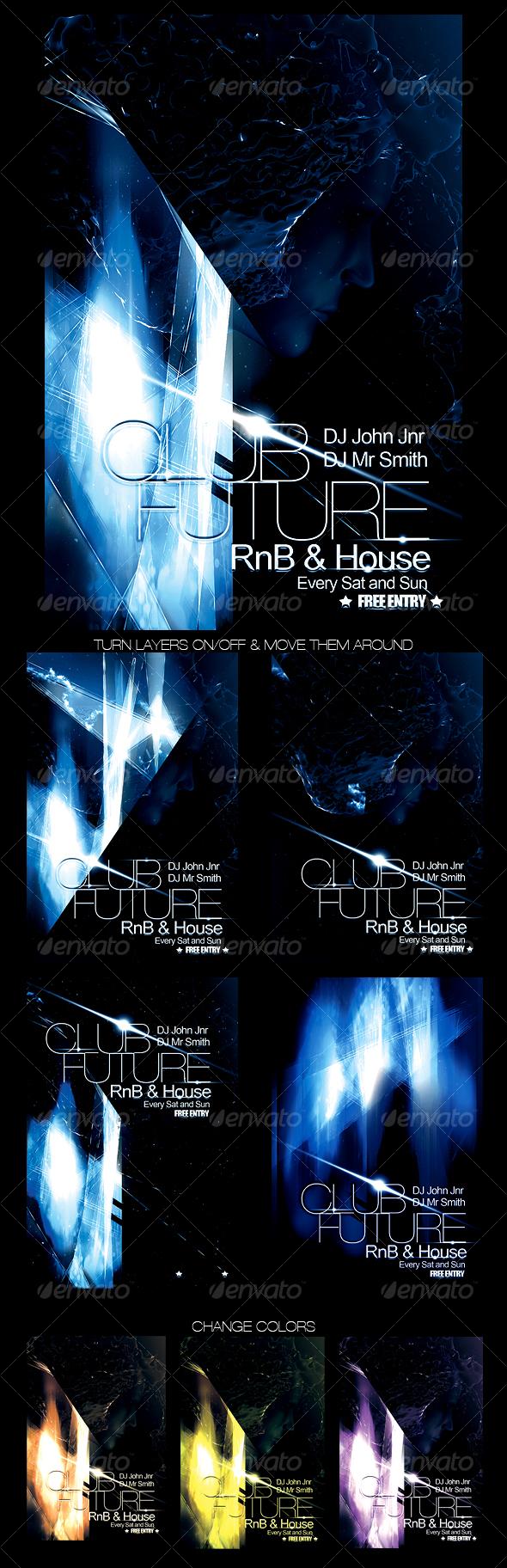 GraphicRiver Futuristic Club Flyer 99240