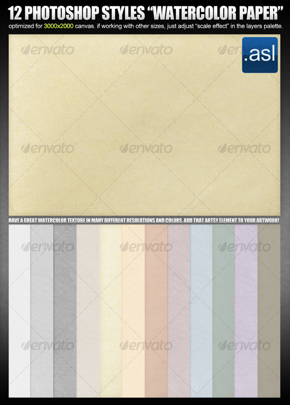 GraphicRiver Photoshop Styles Watercolor Paper in 12 colors 99494