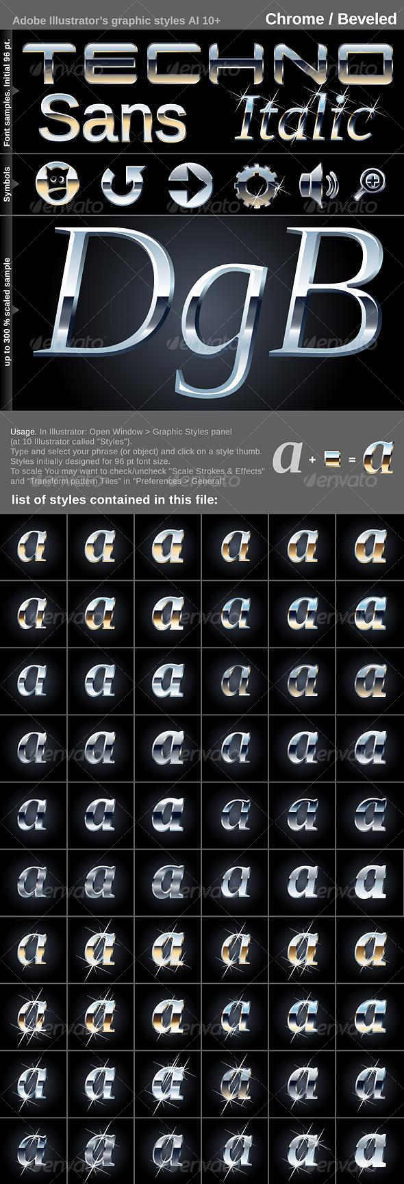 GraphicRiver 60 Illustrator's graphic styles Crome Beveled 100000