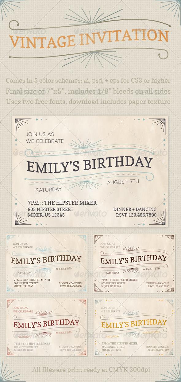GraphicRiver Vintage Invitations 2779962