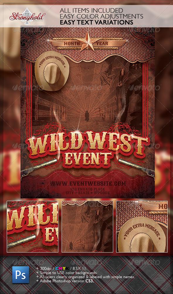 GraphicRiver Wild West Gunslinger Flyer Poster Template 2784157
