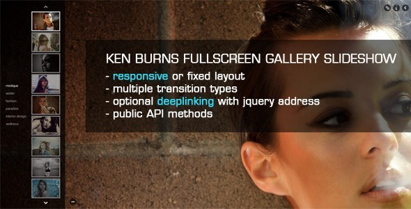 CodeCanyon JQuery Ken Burns Fullscreen Gallery Slideshow 1356059