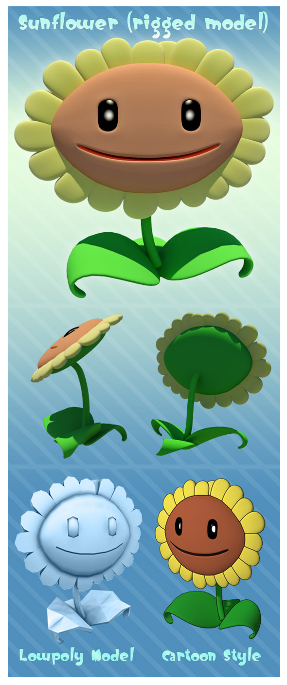 3DOcean Sunflower rigged  3D Models -  Fantasy and Fiction  Plants 100594