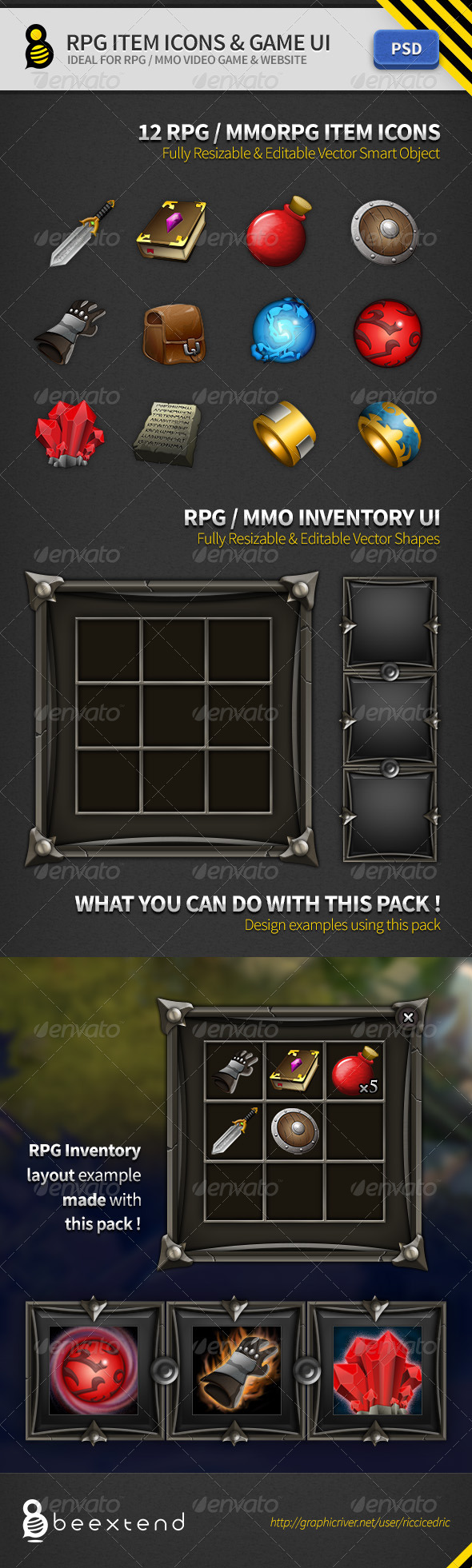 GraphicRiver RPG Item Icons & Game UI 2795948