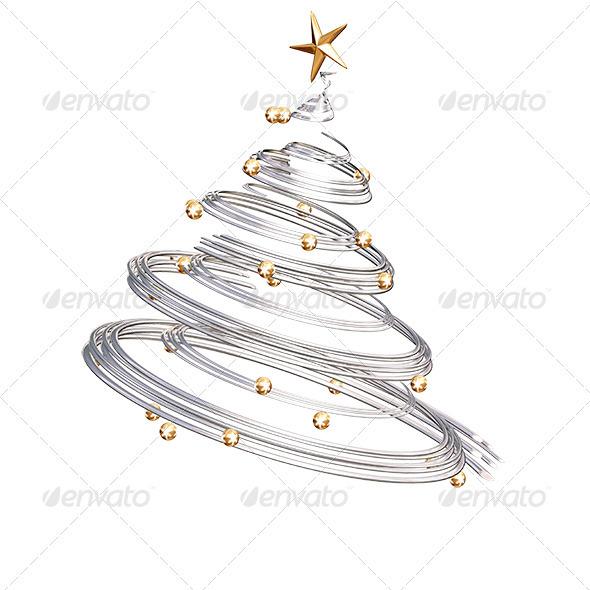 GraphicRiver Silver Spiral Christmas Tree 561759