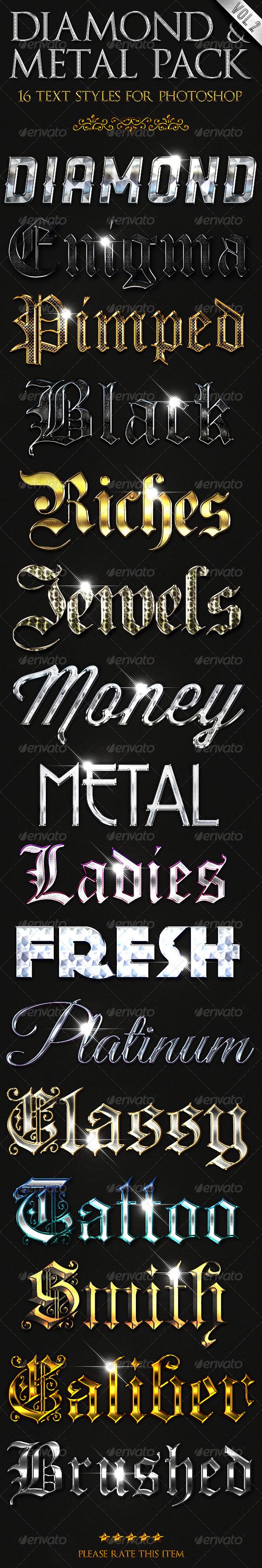 GraphicRiver Diamond & Metal vol 2 Text Styles 2819292