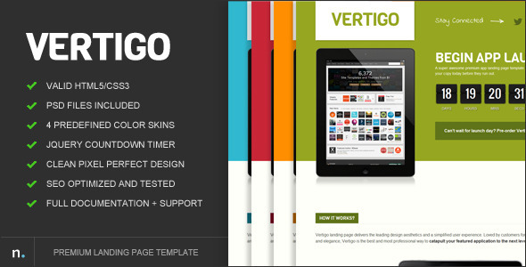 ThemeForest Vertigo Premium Landing Page Marketing Landing Pages Technology Apps 2816468