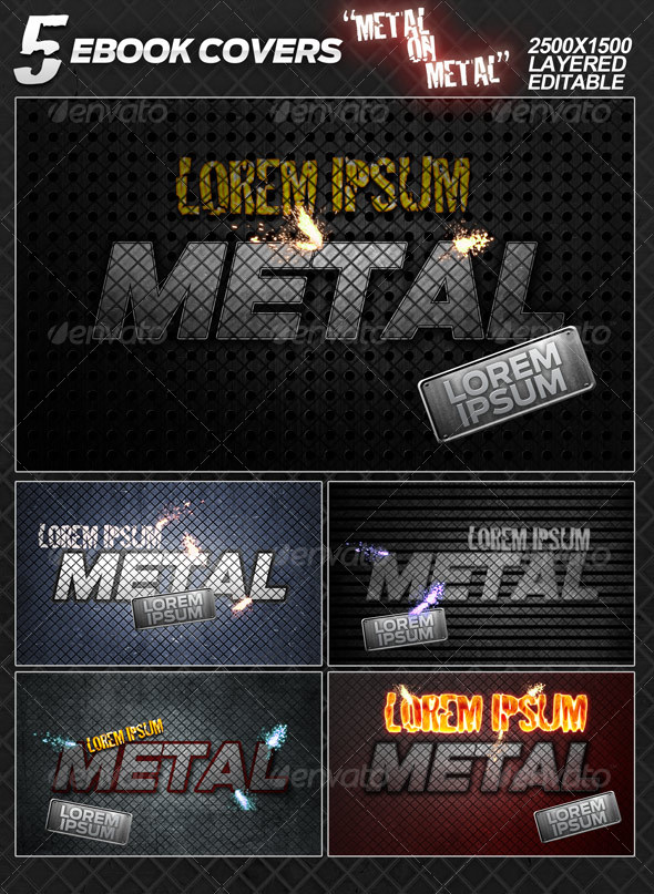 GraphicRiver 5 eBook covers Metal On Metal layered 101717