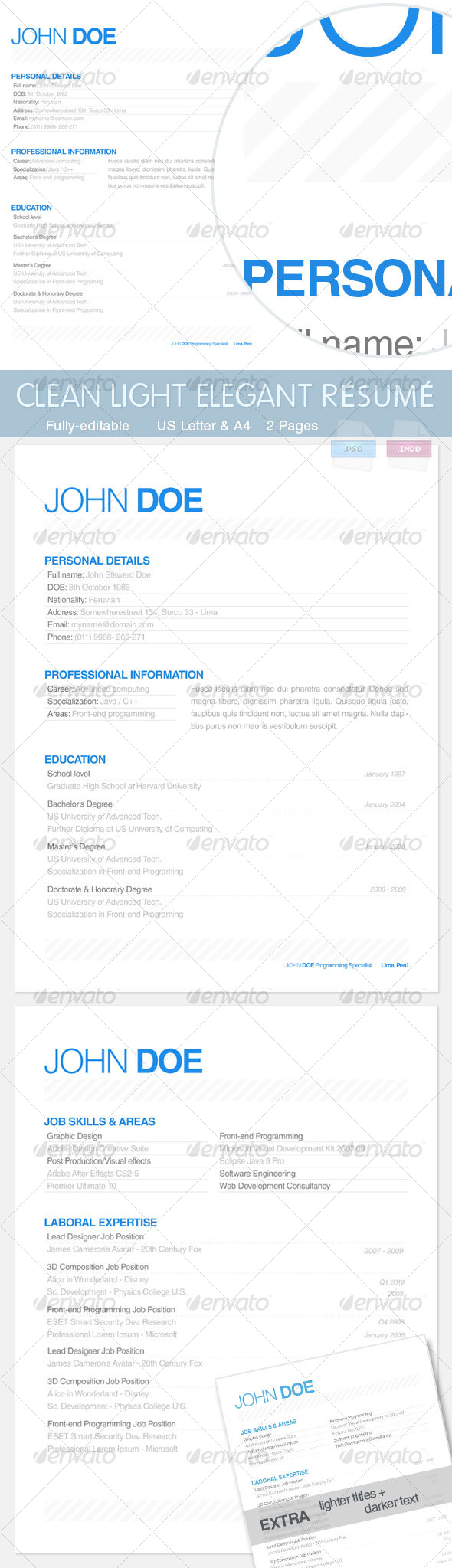 GraphicRiver Light Elegant Resume 100423