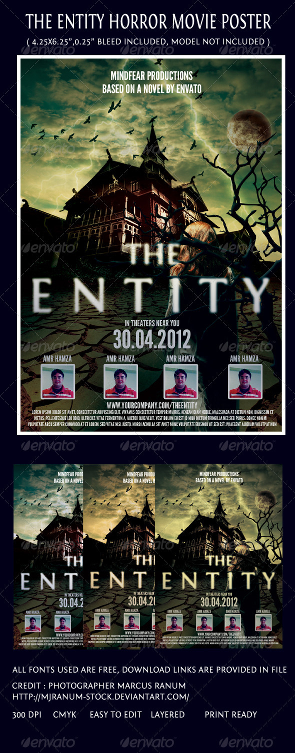 GraphicRiver The Entity Horror Movie Poster Template 2183910