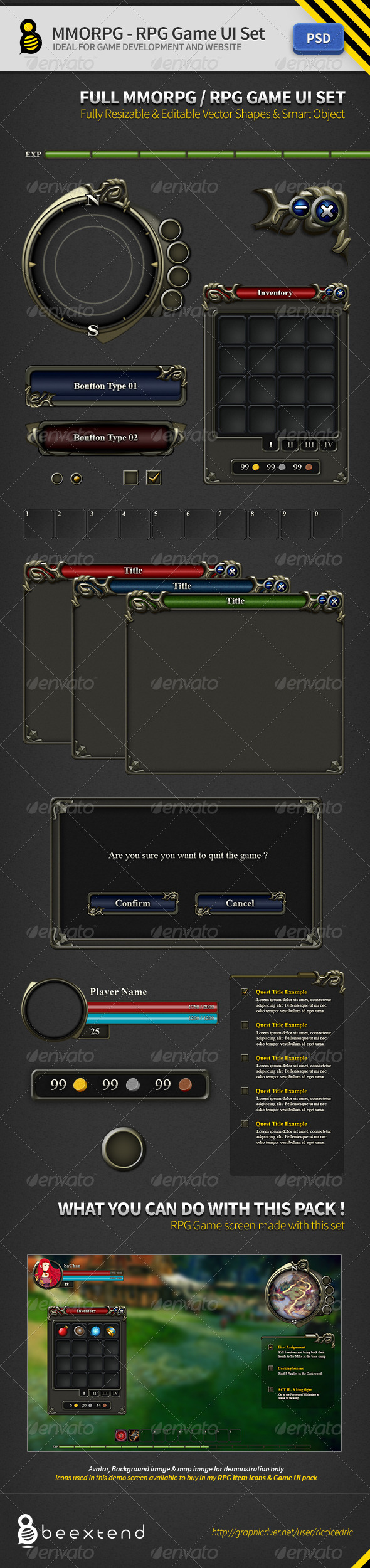 GraphicRiver MMORPG-RPG Game UI Set 2826744