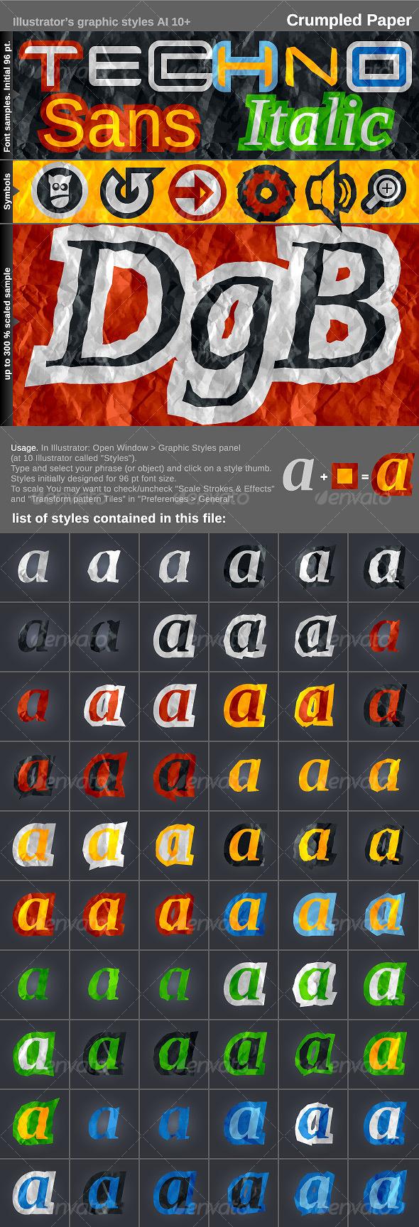 GraphicRiver Illustrator's styles AI CS& Crumpled Paper 101893