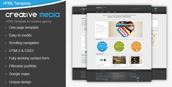 ThemeForest Creative Media One Page Html Creative Agency Site Templates Creative 2832362