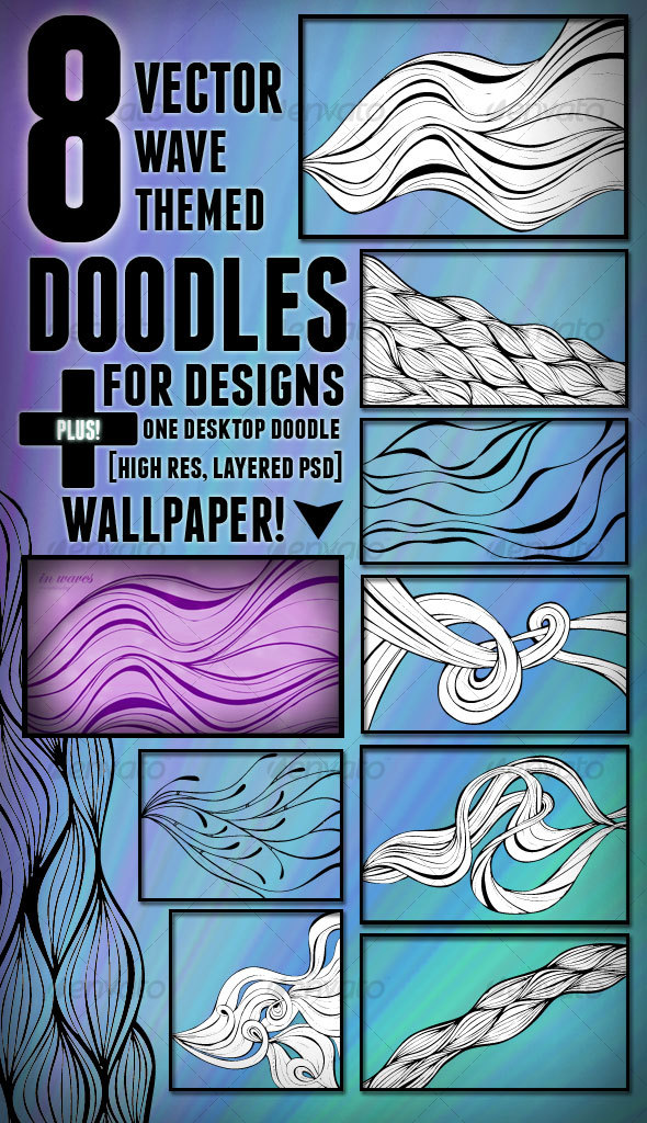 GraphicRiver 8 Vector Wave Themed Doodles 101512