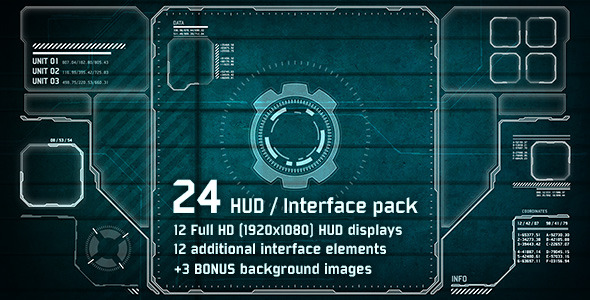 VideoHive 24 Hi-Tech HUD Interface Pack 2836699