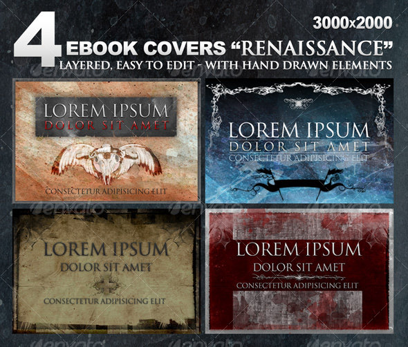 GraphicRiver 4 eBook covers Renaissance with hand-drawn stuff 102426