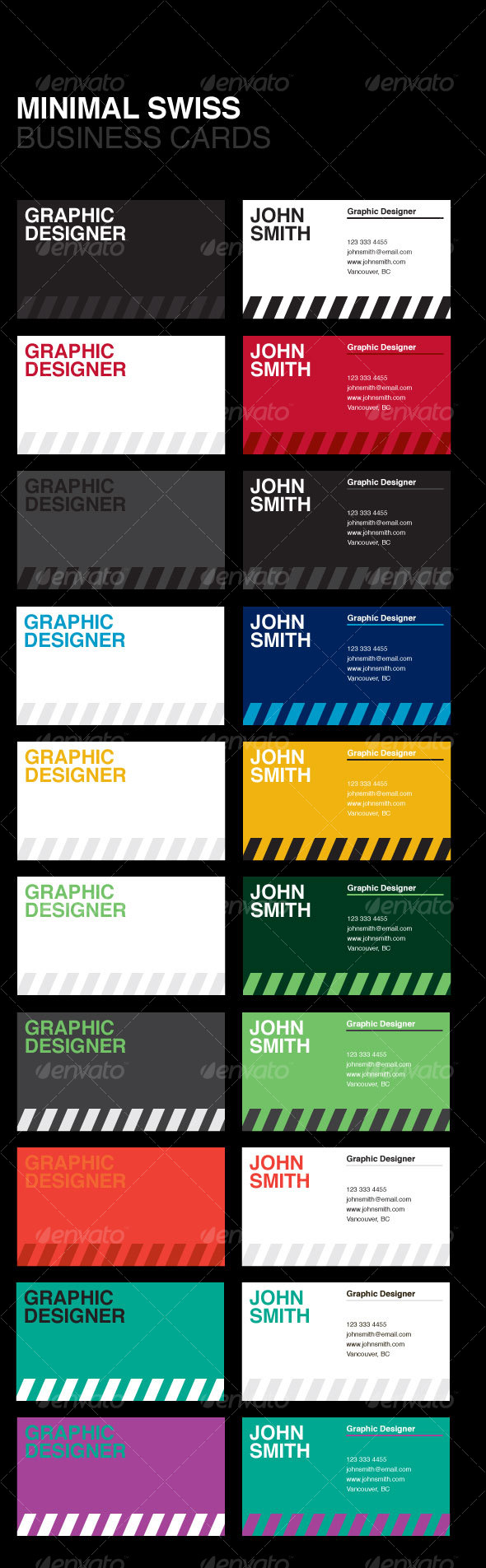 GraphicRiver Swiss Minimal Business Cards 102618