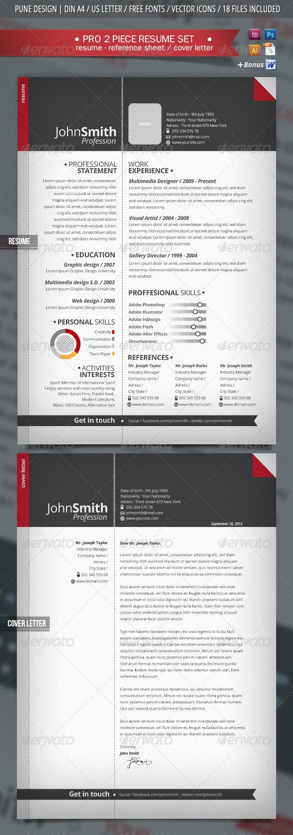 GraphicRiver 2-Piece Pro Resume & Cover Letter 2858605