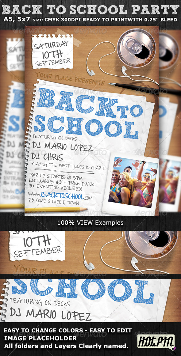 back to school party flyer template graphicriver. Black Bedroom Furniture Sets. Home Design Ideas