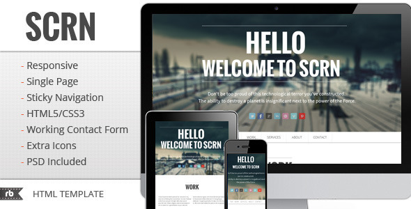 ThemeForest SCRN Responsive Parallax Template Site Templates Creative Portfolio 2862569
