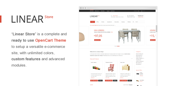 ThemeForest Linear Store ЁC Premium OpenCart Theme eCommerce OpenCart 2867990